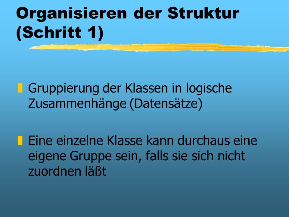 Organisieren der Struktur (Schritt 1) zGruppierung der Klassen in logische Zusammenhänge (Datensätze) zEine einzelne Klasse kann durchaus eine eigene