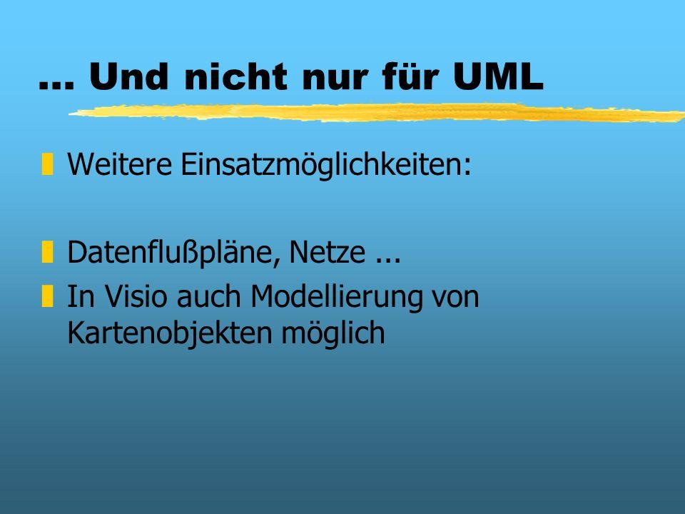 ... Und nicht nur für UML zWeitere Einsatzmöglichkeiten: zDatenflußpläne, Netze... zIn Visio auch Modellierung von Kartenobjekten möglich