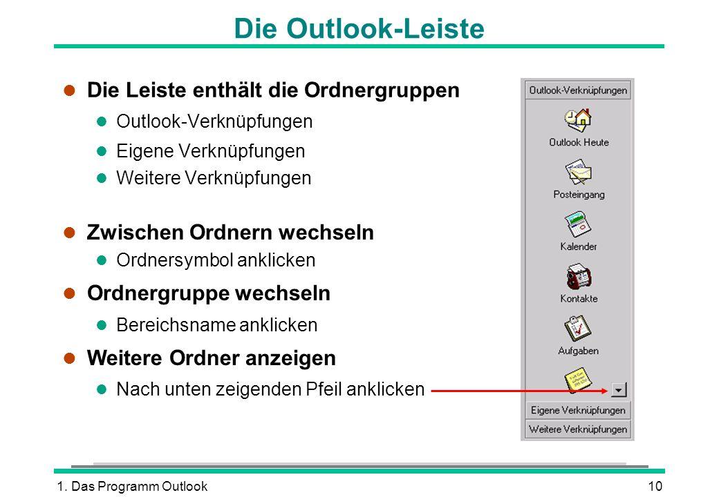 1. Das Programm Outlook10 Die Outlook-Leiste l Die Leiste enthält die Ordnergruppen l Outlook-Verknüpfungen l Eigene Verknüpfungen l Weitere Verknüpfu
