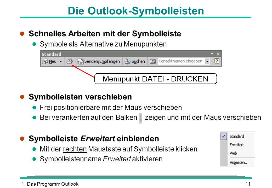1. Das Programm Outlook11 Die Outlook-Symbolleisten l Schnelles Arbeiten mit der Symbolleiste l Symbole als Alternative zu Menüpunkten l Symbolleisten