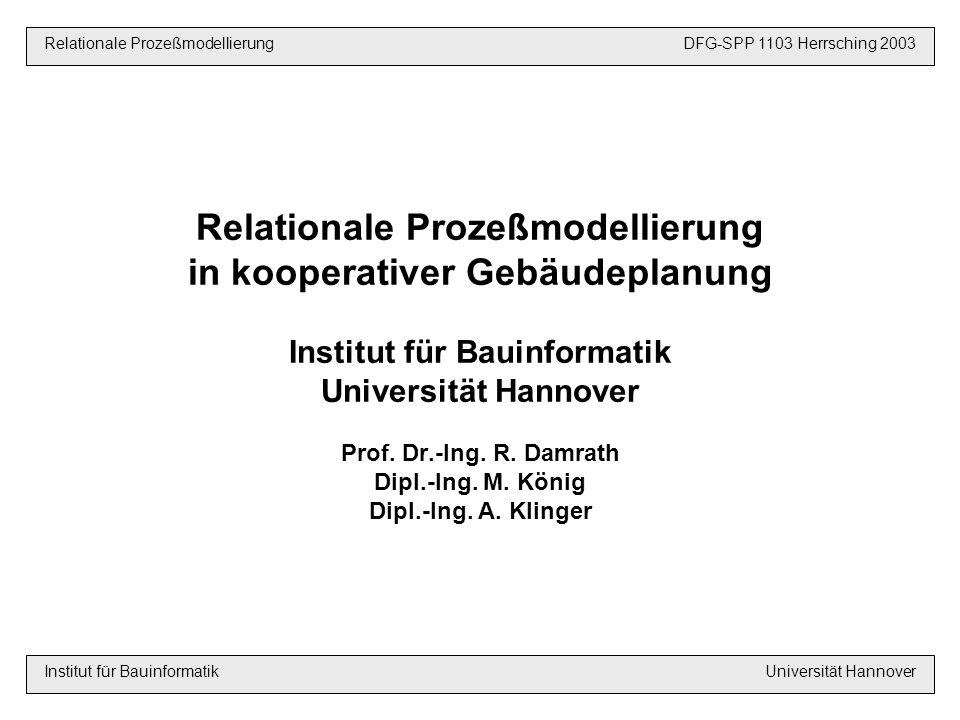 Relationale Prozeßmodellierung in kooperativer Gebäudeplanung Institut für Bauinformatik Universität Hannover Prof.