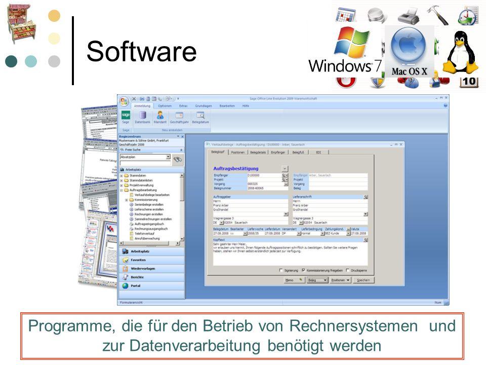 Software Programme, die für den Betrieb von Rechnersystemen und zur Datenverarbeitung benötigt werden