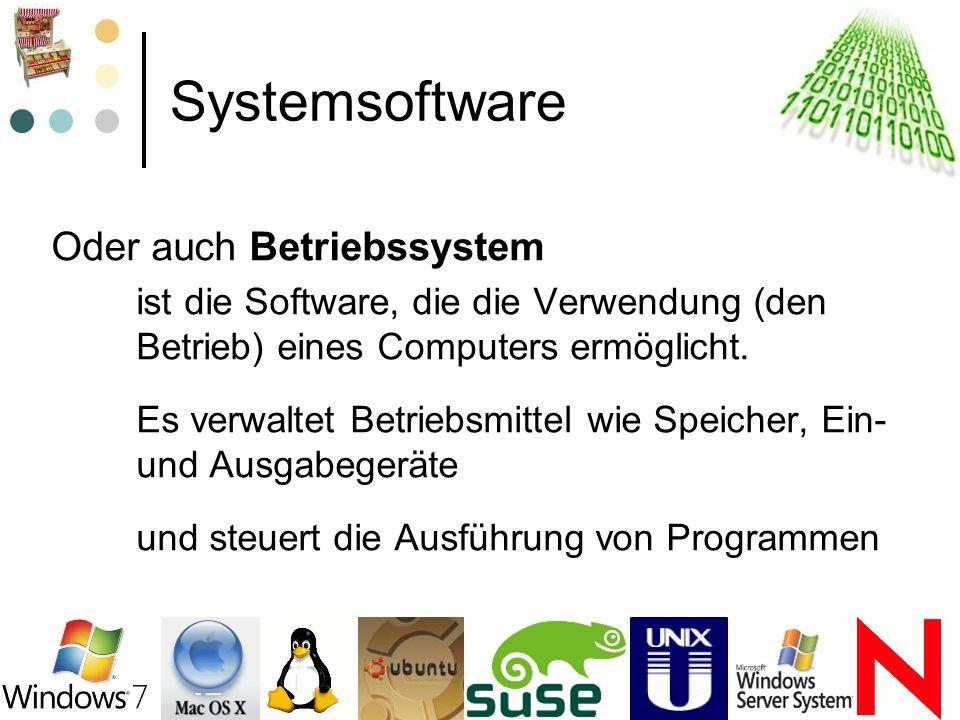 Systemsoftware Oder auch Betriebssystem ist die Software, die die Verwendung (den Betrieb) eines Computers ermöglicht. Es verwaltet Betriebsmittel wie