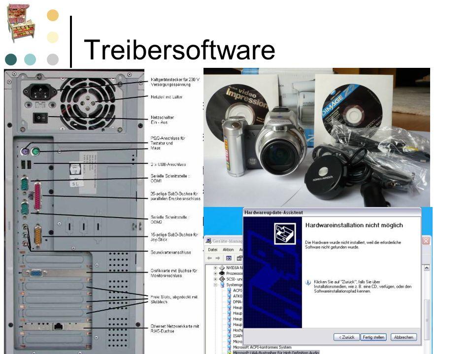 Treibersoftware Ein Gerätetreiber, häufig kurz nur Treiber genannt, ist ein Computerprogramm oder -modul, das das Zusammenspiel zwischen angeschlossen