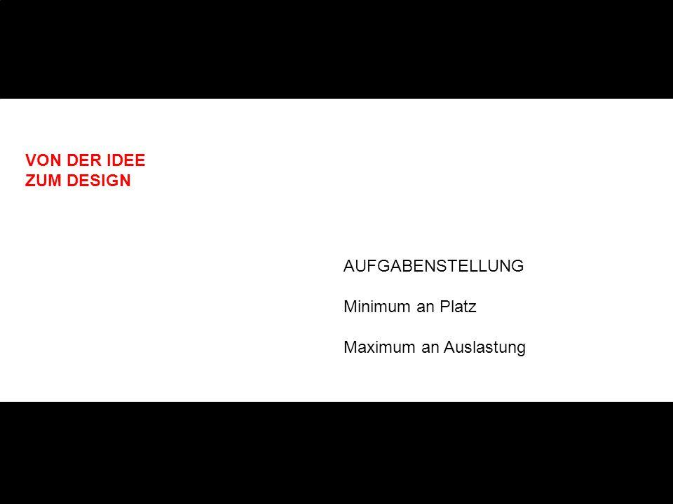 VON DER IDEE ZUM DESIGN AUFGABENSTELLUNG Minimum an Platz Maximum an Auslastung