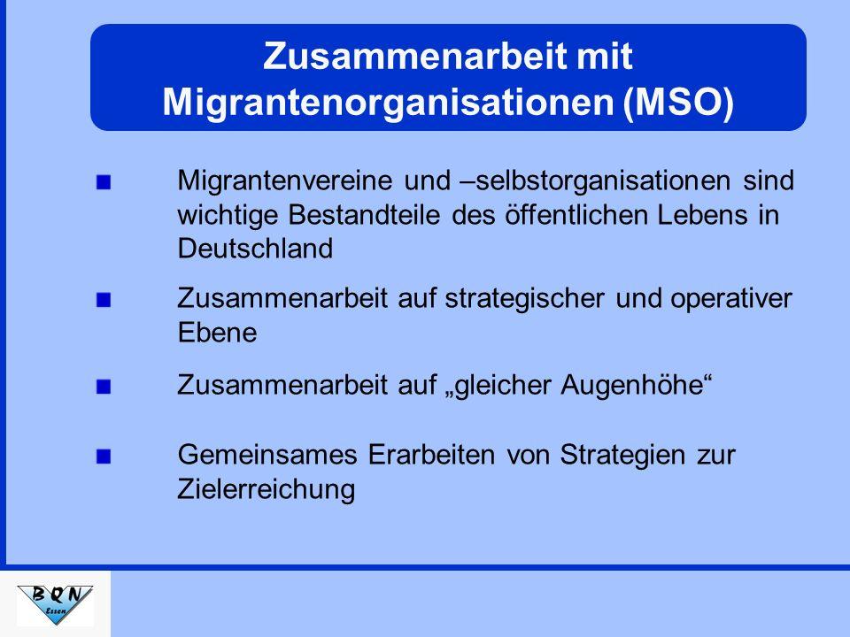 Migrantenvereine und –selbstorganisationen sind wichtige Bestandteile des öffentlichen Lebens in Deutschland Gemeinsames Erarbeiten von Strategien zur Zielerreichung Zusammenarbeit auf gleicher Augenhöhe Zusammenarbeit mit Migrantenorganisationen (MSO) Zusammenarbeit auf strategischer und operativer Ebene