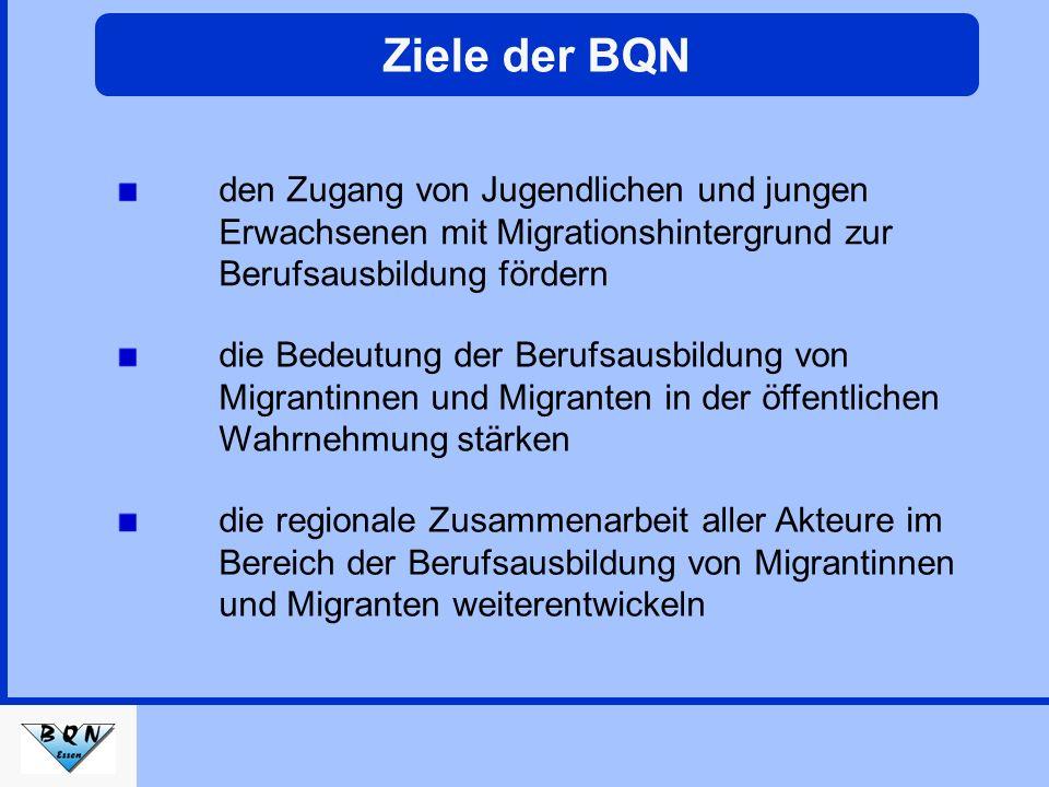 Ziele der BQN die Bedeutung der Berufsausbildung von Migrantinnen und Migranten in der öffentlichen Wahrnehmung stärken die regionale Zusammenarbeit aller Akteure im Bereich der Berufsausbildung von Migrantinnen und Migranten weiterentwickeln den Zugang von Jugendlichen und jungen Erwachsenen mit Migrationshintergrund zur Berufsausbildung fördern