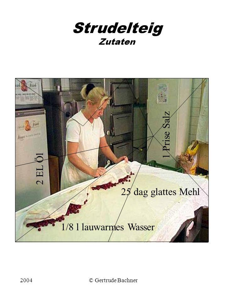 2004© Gertrude Bachner Strudelteig Zutaten 25 dag glattes Mehl 1 Prise Salz 2 EL Öl 1/8 l lauwarmes Wasser
