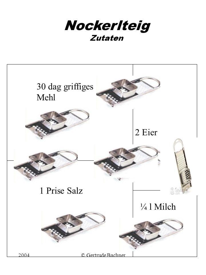 2004© Gertrude Bachner Nockerlteig Zutaten 30 dag griffiges Mehl ¼ l Milch 1 Prise Salz 2 Eier