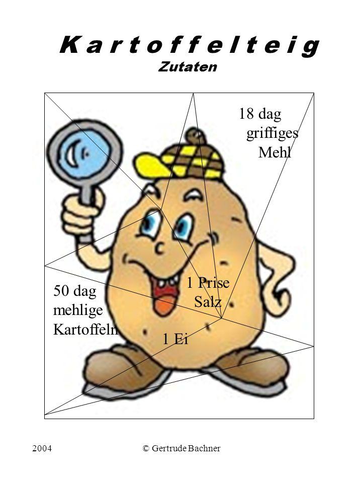 2004© Gertrude Bachner K a r t o f f e l t e i g Zutaten 50 dag mehlige Kartoffeln 18 dag griffiges Mehl 1 Prise Salz 1 Ei
