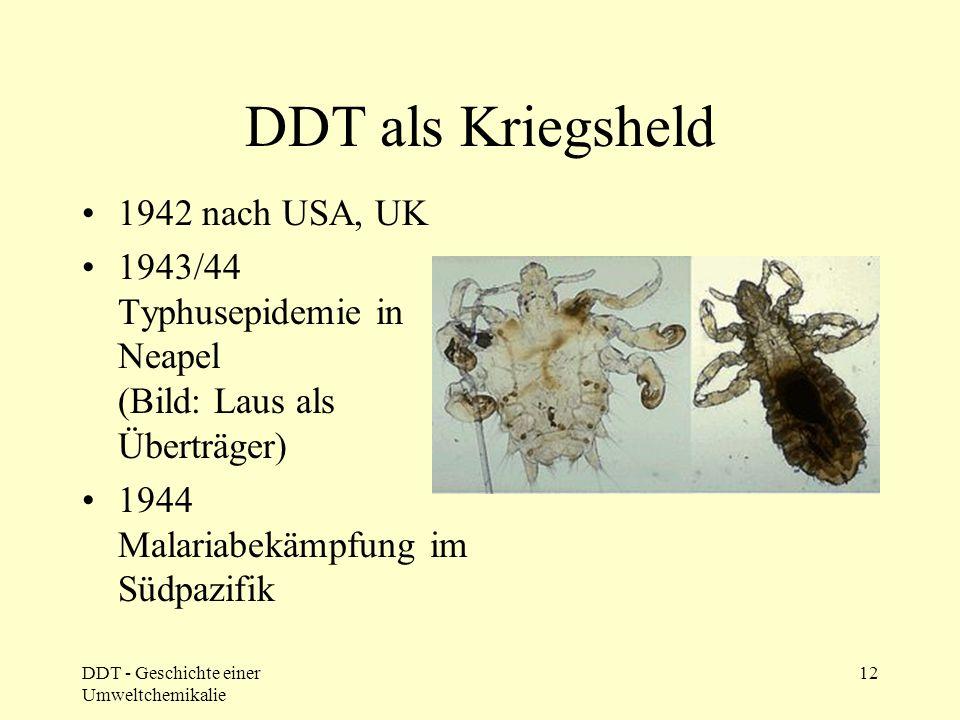 DDT - Geschichte einer Umweltchemikalie 12 DDT als Kriegsheld 1942 nach USA, UK 1943/44 Typhusepidemie in Neapel (Bild: Laus als Überträger) 1944 Mala