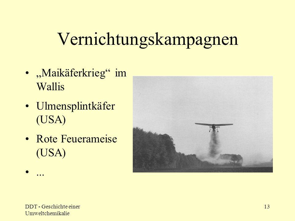 DDT - Geschichte einer Umweltchemikalie 13 Vernichtungskampagnen Maikäferkrieg im Wallis Ulmensplintkäfer (USA) Rote Feuerameise (USA)...
