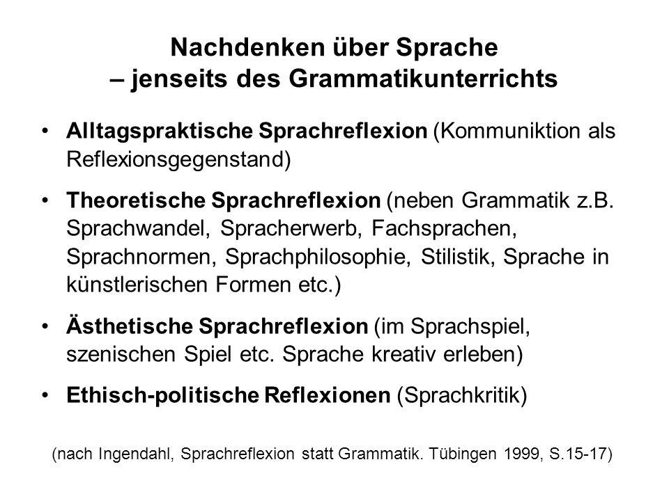 Kritik an der Grammatikwerkstatt: Alle Fragen sind handlungsirrelevant, dienen nur dem Zweck der System-Konstruktion Beispielsätze zeigen dem Leser, d