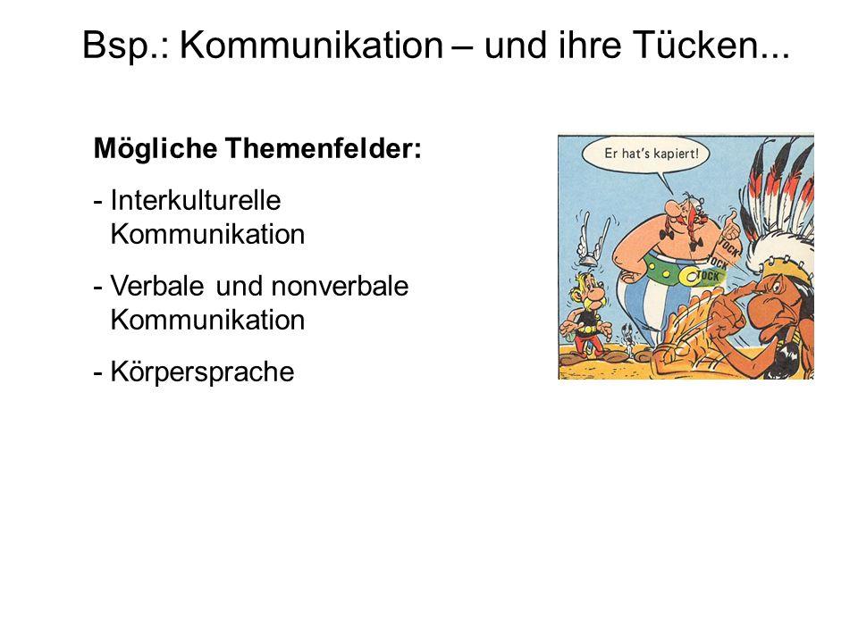 Bsp.: Kommunikation – und ihre Tücken...