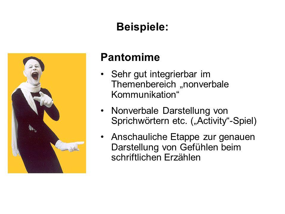 Beispiele: Improvisation Vereinfachte Ausprägungen von Mitteln des Impro-Theaters Warm-ups: z.B. Freeze Stegreifspiele (z.B. Antizipation von Gespräch