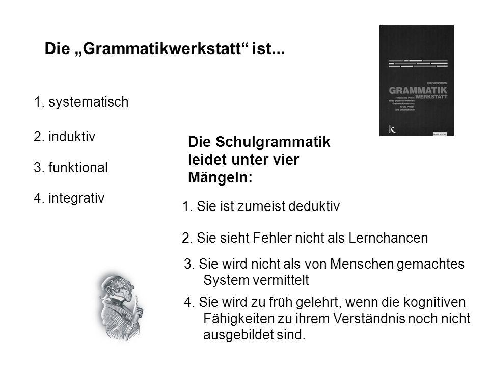 Die Grammatikwerkstatt ist... 1. systematisch 2. induktiv Argumente für einen induktiven Grammatikunterricht: -lernpsychologisch: Nachhaltiges Lernen