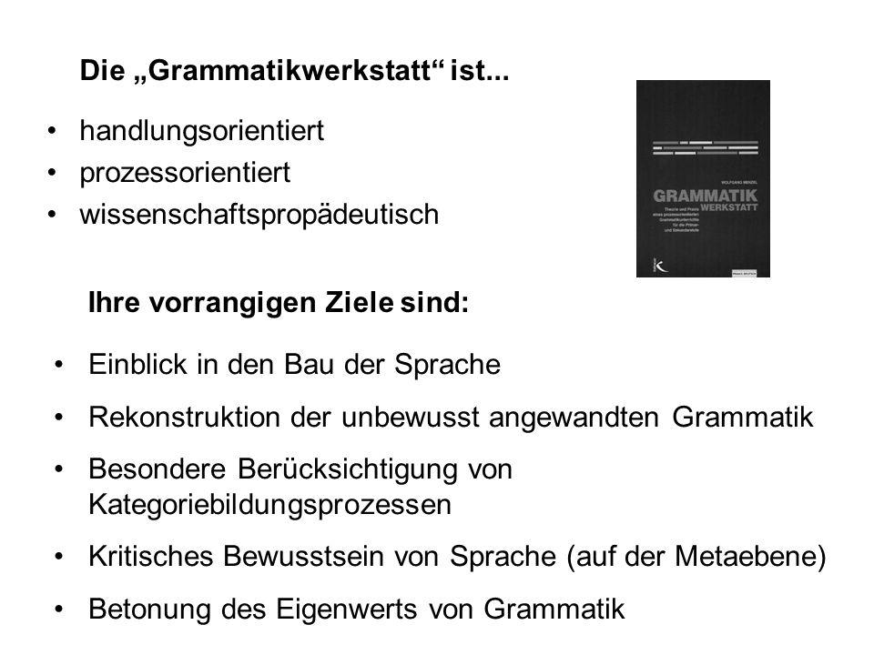 Die Grammatikwerkstatt ist... 1. systematisch 2. induktiv 4. integrativ 3. funktional Die Schulgrammatik leidet unter vier Mängeln: 1. Sie ist zumeist