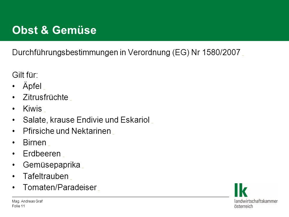 Obst & Gemüse Durchführungsbestimmungen in Verordnung (EG) Nr 1580/2007 _ _ Gilt für: Äpfel _ _ Zitrusfrüchte _ _ Kiwis _ _ Salate, krause Endivie und