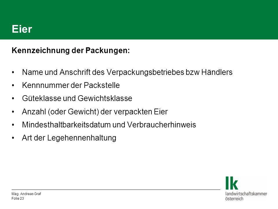 Eier Kennzeichnung der Packungen: Name und Anschrift des Verpackungsbetriebes bzw Händlers Kennnummer der Packstelle Güteklasse und Gewichtsklasse Anz