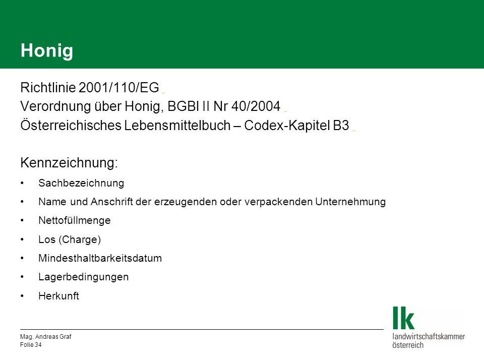Honig Richtlinie 2001/110/EG _ _ Verordnung über Honig, BGBl II Nr 40/2004 _ _ Österreichisches Lebensmittelbuch – Codex-Kapitel B3 _ _ Kennzeichnung: