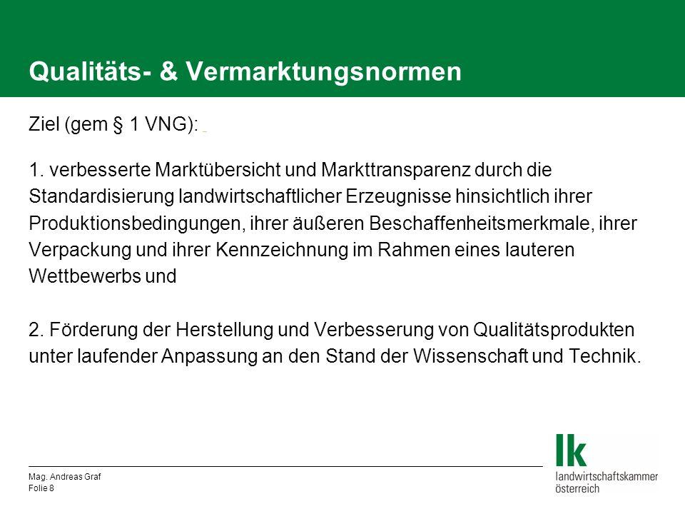 Qualitäts- & Vermarktungsnormen EU-weite Regelung für: Obst und Gemüse Eier Geflügelfleisch Bruteier und Küken von Hausgeflügel Rinder- und Schweineschlachtkörper Mag.