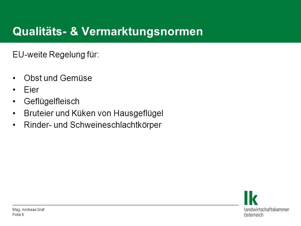 Qualitäts- & Vermarktungsnormen EU-weite Regelung für: Obst und Gemüse Eier Geflügelfleisch Bruteier und Küken von Hausgeflügel Rinder- und Schweinesc