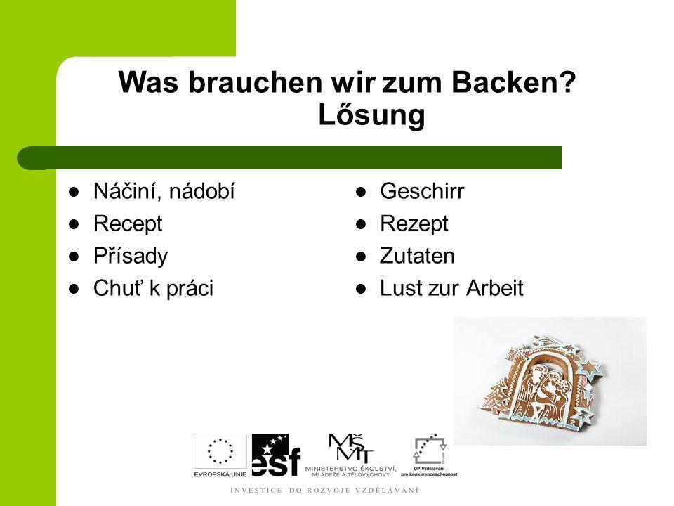 Zutaten Wie nennt man sie auf Deutsch.