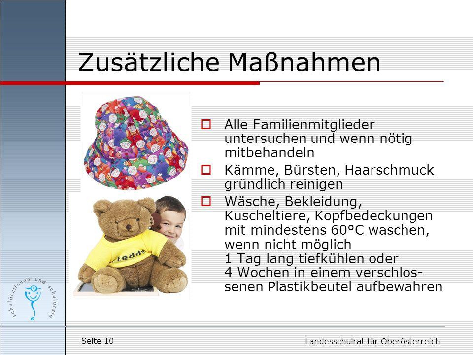 Seite 10 Landesschulrat für Oberösterreich Zusätzliche Maßnahmen Alle Familienmitglieder untersuchen und wenn nötig mitbehandeln Kämme, Bürsten, Haars