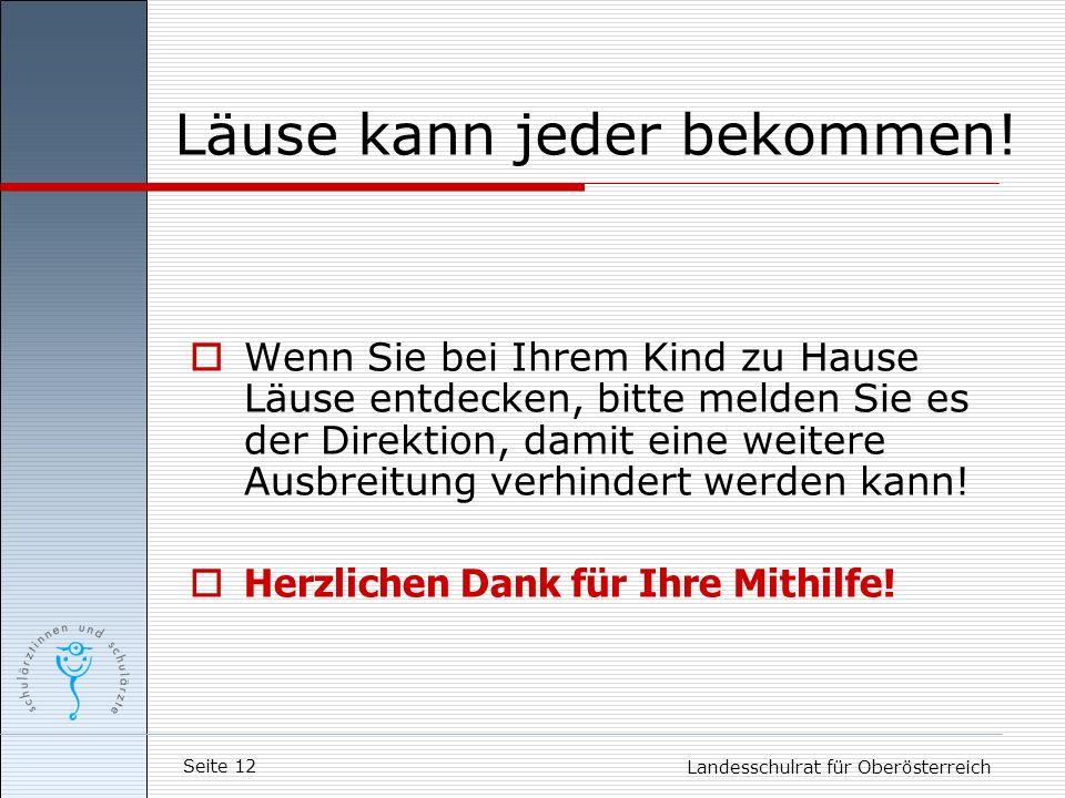 Seite 12 Landesschulrat für Oberösterreich Läuse kann jeder bekommen! Wenn Sie bei Ihrem Kind zu Hause Läuse entdecken, bitte melden Sie es der Direkt