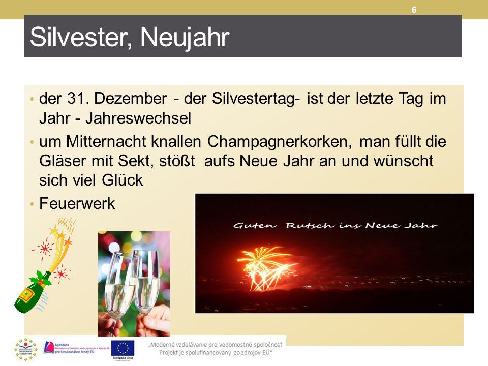 Silvester, Neujahr der 31. Dezember - der Silvestertag- ist der letzte Tag im Jahr - Jahreswechsel um Mitternacht knallen Champagnerkorken, man füllt