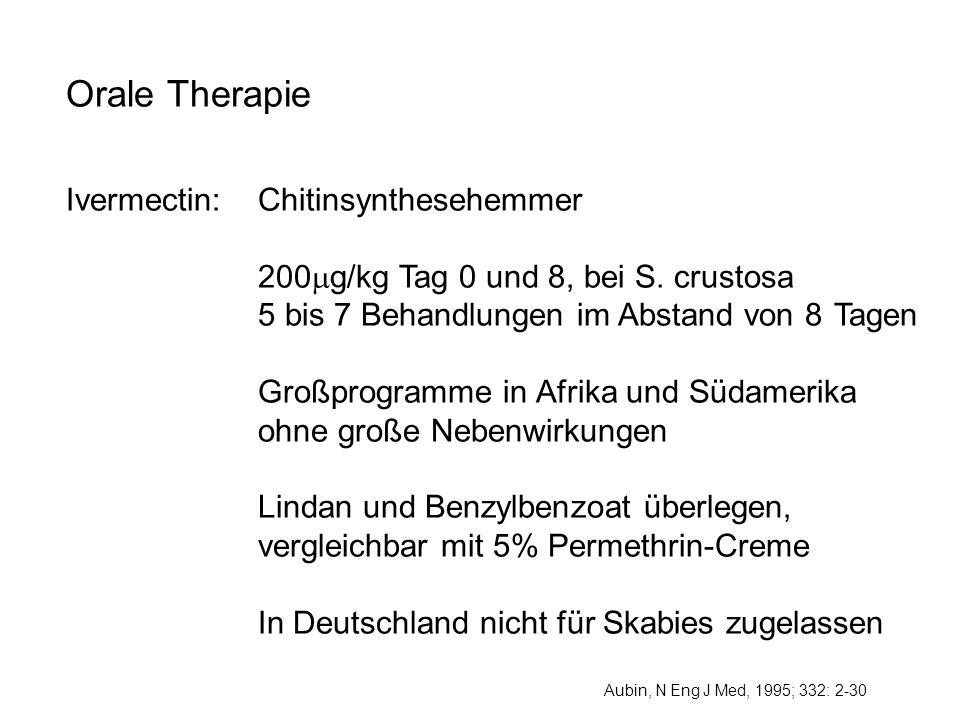 Orale Therapie Ivermectin: Chitinsynthesehemmer 200 g/kg Tag 0 und 8, bei S. crustosa 5 bis 7 Behandlungen im Abstand von 8 Tagen Großprogramme in Afr