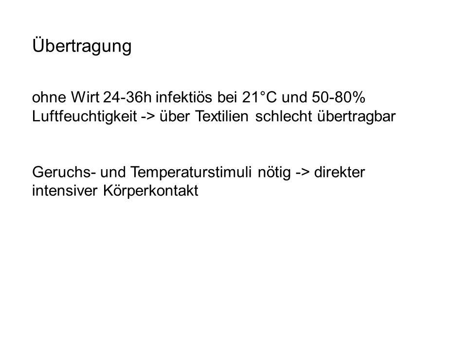 Übertragung ohne Wirt 24-36h infektiös bei 21°C und 50-80% Luftfeuchtigkeit -> über Textilien schlecht übertragbar Geruchs- und Temperaturstimuli nöti