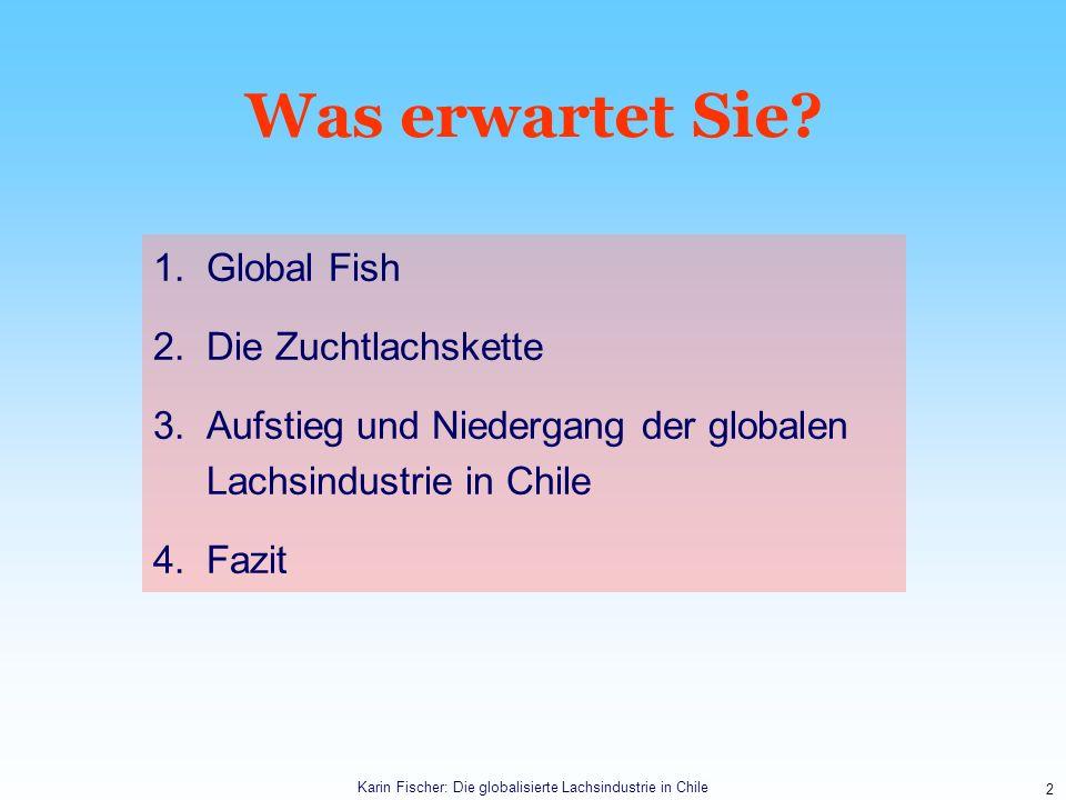 2 Was erwartet Sie? 1.Global Fish 2.Die Zuchtlachskette 3.Aufstieg und Niedergang der globalen Lachsindustrie in Chile 4.Fazit Karin Fischer: Die glob