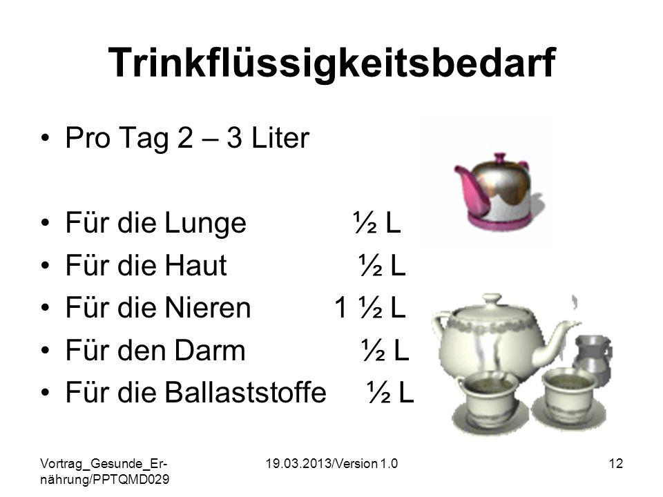 Vortrag_Gesunde_Er- nährung/PPTQMD029 19.03.2013/Version 1.012 Trinkflüssigkeitsbedarf Pro Tag 2 – 3 Liter Für die Lunge ½ L Für die Haut ½ L Für die