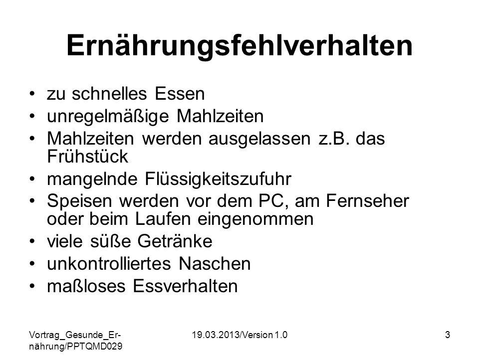 Vortrag_Gesunde_Er- nährung/PPTQMD029 19.03.2013/Version 1.03 Ernährungsfehlverhalten zu schnelles Essen unregelmäßige Mahlzeiten Mahlzeiten werden au