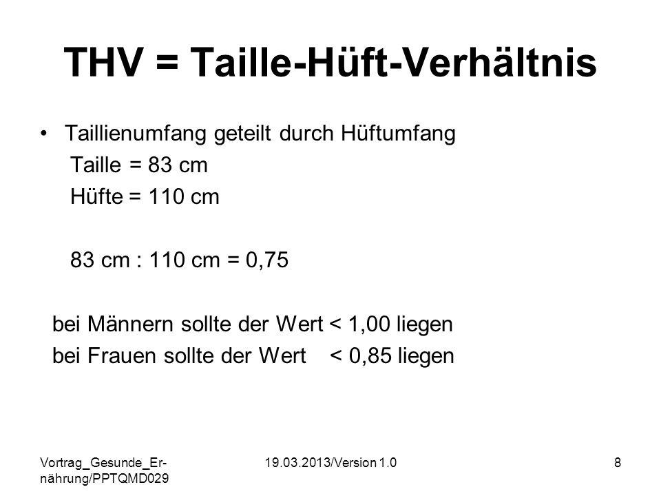 Vortrag_Gesunde_Er- nährung/PPTQMD029 19.03.2013/Version 1.08 THV = Taille-Hüft-Verhältnis Taillienumfang geteilt durch Hüftumfang Taille = 83 cm Hüft