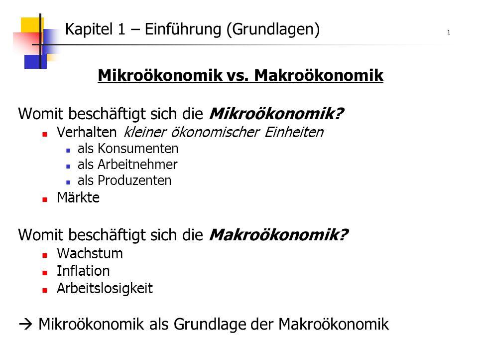 Kapitel 1 – Einführung (Grundlagen) 1 Mikroökonomik vs.
