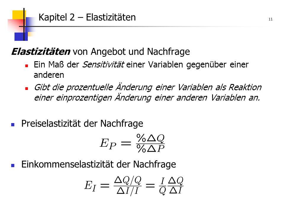 Kapitel 2 – Elastizitäten 11 Elastizitäten von Angebot und Nachfrage Ein Maß der Sensitivität einer Variablen gegenüber einer anderen Gibt die prozentuelle Änderung einer Variablen als Reaktion einer einprozentigen Änderung einer anderen Variablen an.
