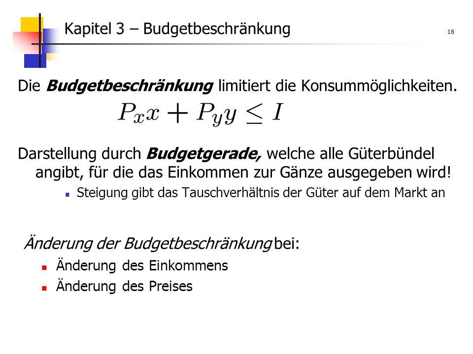 Kapitel 3 – Budgetbeschränkung 18 Die Budgetbeschränkung limitiert die Konsummöglichkeiten.