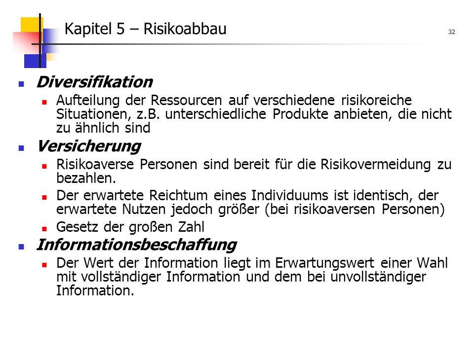 Kapitel 5 – Risikoabbau 32 Diversifikation Aufteilung der Ressourcen auf verschiedene risikoreiche Situationen, z.B.