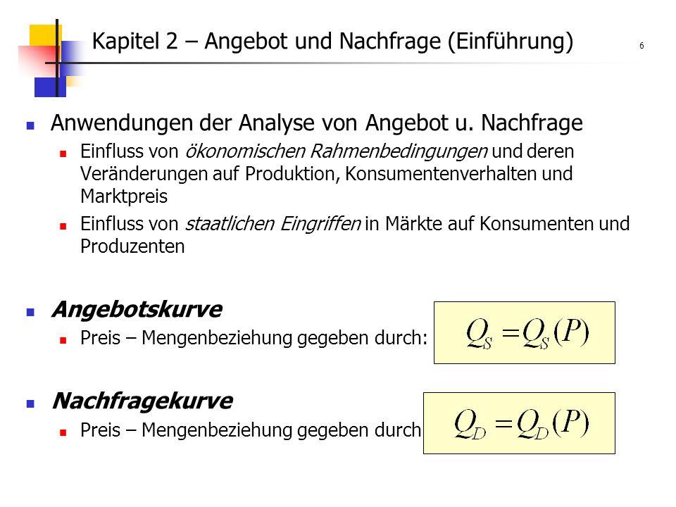 Kapitel 2 – Angebot und Nachfrage (Einführung) 6 Anwendungen der Analyse von Angebot u.