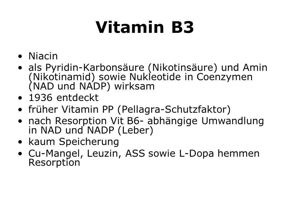 Vitamin B3 Niacin als Pyridin-Karbonsäure (Nikotinsäure) und Amin (Nikotinamid) sowie Nukleotide in Coenzymen (NAD und NADP) wirksam 1936 entdeckt früher Vitamin PP (Pellagra-Schutzfaktor) nach Resorption Vit B6- abhängige Umwandlung in NAD und NADP (Leber) kaum Speicherung Cu-Mangel, Leuzin, ASS sowie L-Dopa hemmen Resorption