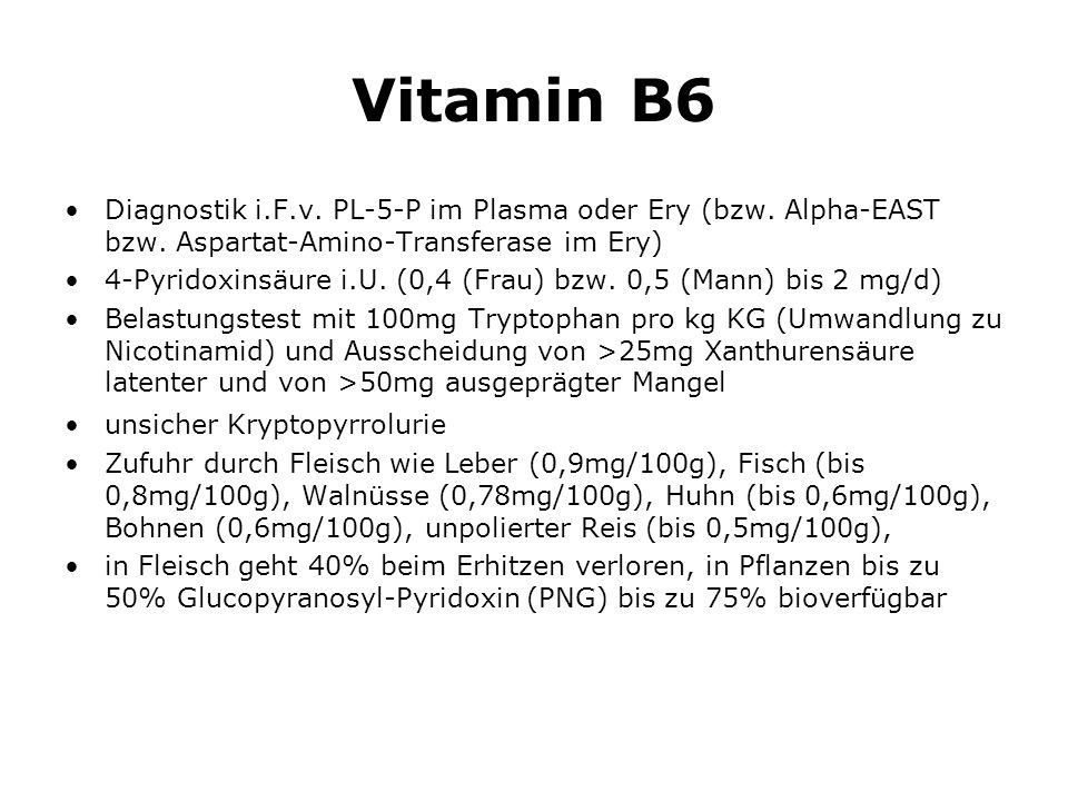 Vitamin B6 Diagnostik i.F.v.PL-5-P im Plasma oder Ery (bzw.
