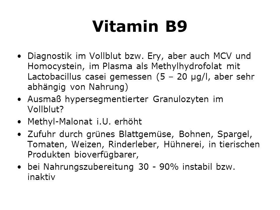 Vitamin B9 Diagnostik im Vollblut bzw.