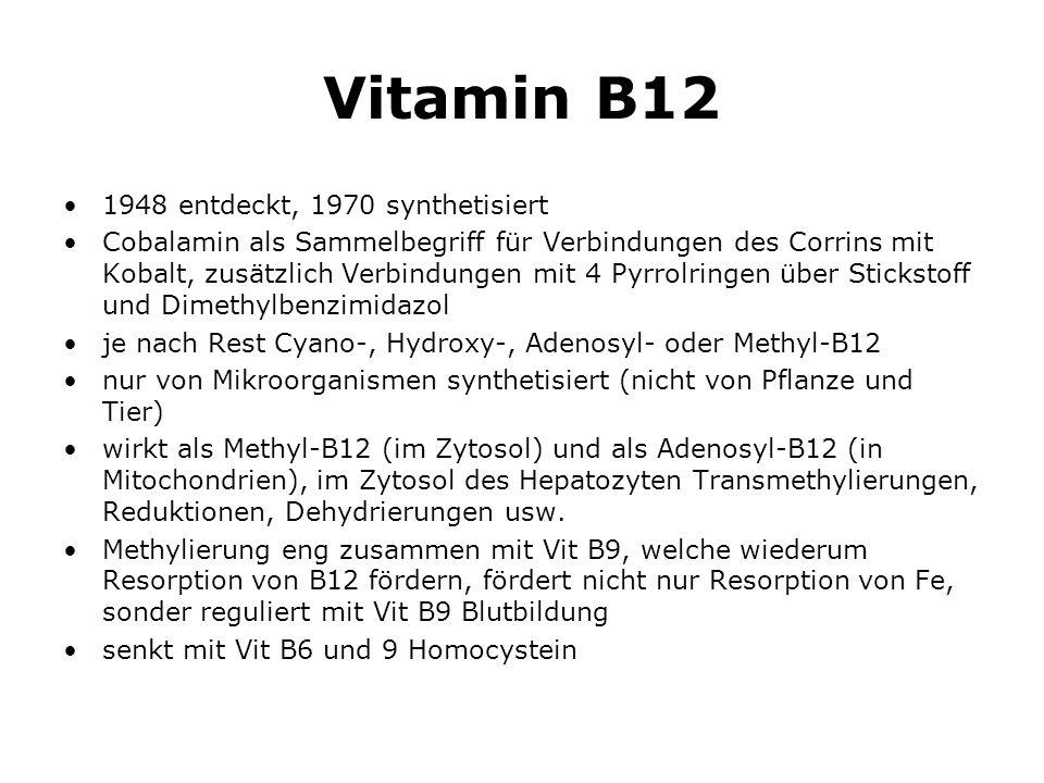 Vitamin B12 1948 entdeckt, 1970 synthetisiert Cobalamin als Sammelbegriff für Verbindungen des Corrins mit Kobalt, zusätzlich Verbindungen mit 4 Pyrrolringen über Stickstoff und Dimethylbenzimidazol je nach Rest Cyano-, Hydroxy-, Adenosyl- oder Methyl-B12 nur von Mikroorganismen synthetisiert (nicht von Pflanze und Tier) wirkt als Methyl-B12 (im Zytosol) und als Adenosyl-B12 (in Mitochondrien), im Zytosol des Hepatozyten Transmethylierungen, Reduktionen, Dehydrierungen usw.