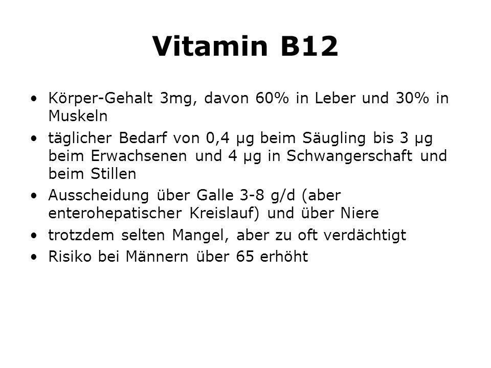 Vitamin B12 Körper-Gehalt 3mg, davon 60% in Leber und 30% in Muskeln täglicher Bedarf von 0,4 µg beim Säugling bis 3 µg beim Erwachsenen und 4 µg in Schwangerschaft und beim Stillen Ausscheidung über Galle 3-8 g/d (aber enterohepatischer Kreislauf) und über Niere trotzdem selten Mangel, aber zu oft verdächtigt Risiko bei Männern über 65 erhöht