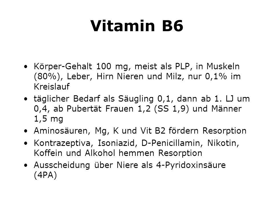 Vitamin B6 Körper-Gehalt 100 mg, meist als PLP, in Muskeln (80%), Leber, Hirn Nieren und Milz, nur 0,1% im Kreislauf täglicher Bedarf als Säugling 0,1, dann ab 1.