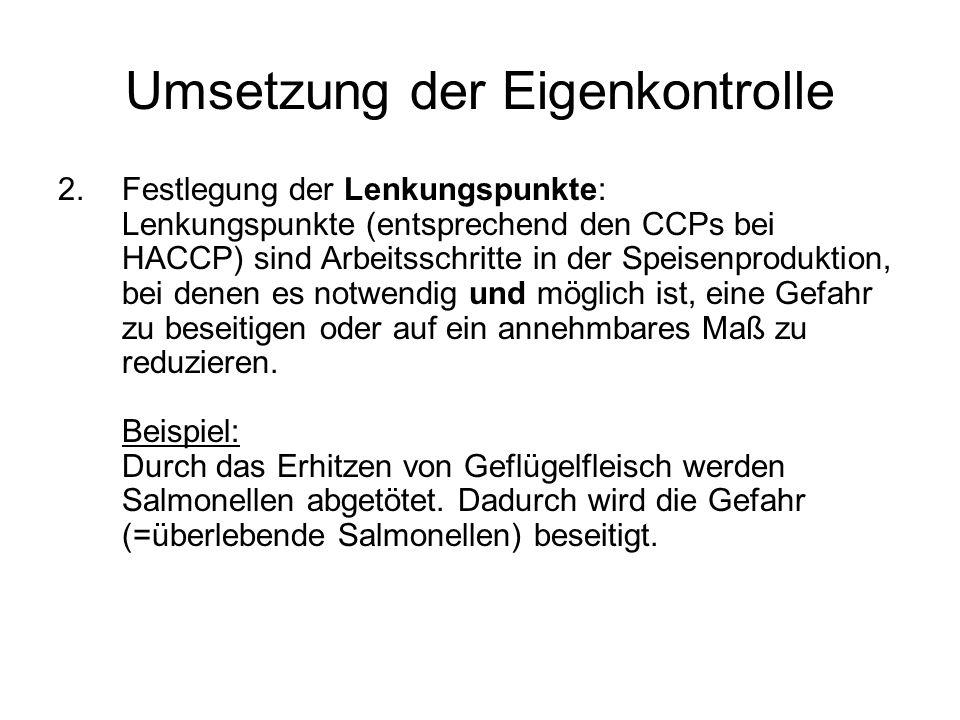 Umsetzung der Eigenkontrolle 3.Festlegung von Grenzwerten bzw.