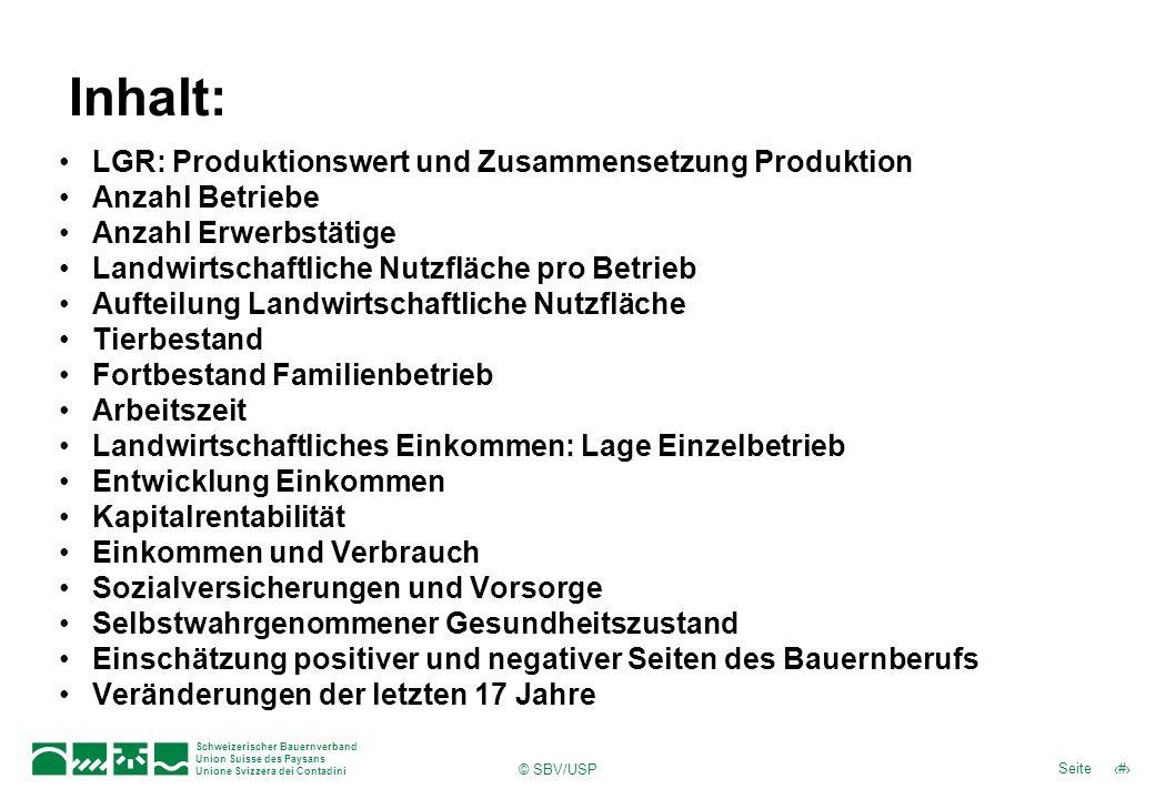 Schweizerischer Bauernverband Union Suisse des Paysans Unione Svizzera dei Contadini 3Seite © SBV/USP In diesem Kapitel wird kurz auf die LGR, ihre Zusammensetzung und die Entwicklung in den letzten Jahren eingegangen.