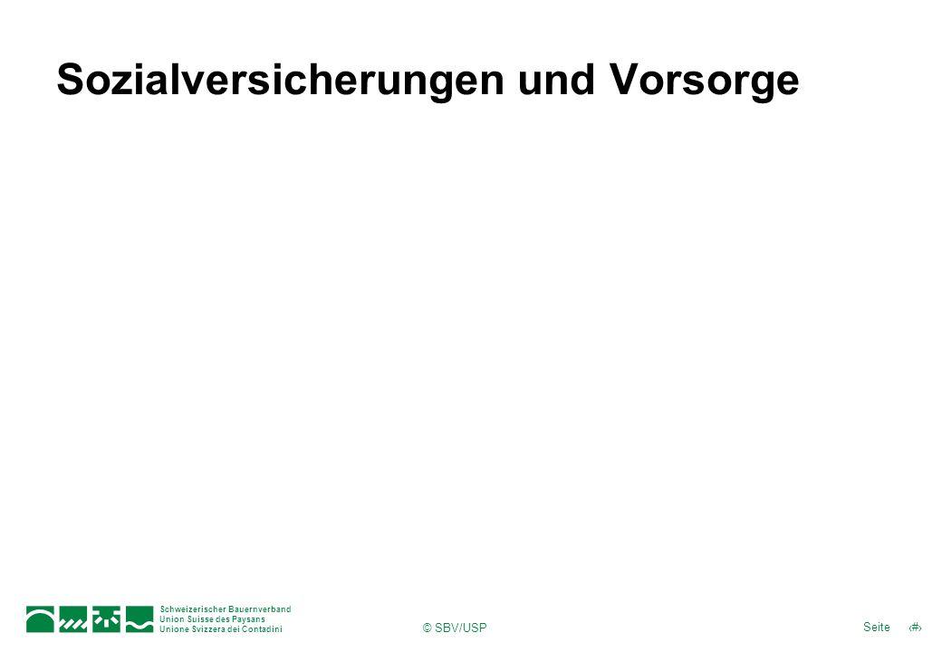 Schweizerischer Bauernverband Union Suisse des Paysans Unione Svizzera dei Contadini 29Seite © SBV/USP Sozialversicherungen und Vorsorge
